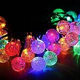 Cadena solar de luces LED para Árbol de Navidad, Patio, Jardín, Terraza y Todas las Decoraciones con Diseño de Bolas de Cristal Colores