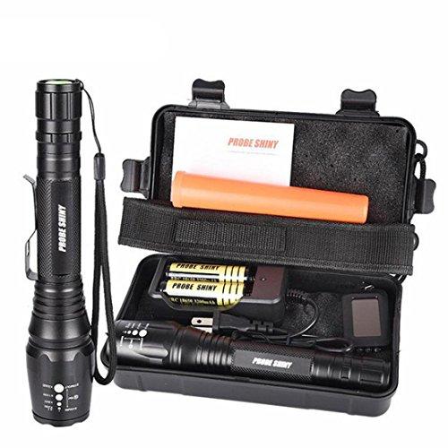 LED Taktische Taschenlampen Set, Gusspower X800 Zoomable XML T6 Superhell Wasserdicht Polizei Tragbare Taschenlampe 8000 Lumen, 5 Lichtmodi Für Camping Wandern und Outdoor