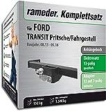 Rameder Komplettsatz, Anhängebock mit 2-Loch-Flanschkugel + 13pol Elektrik für Ford Transit Pritsche/Fahrgestell (131603-11954-1)