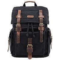 Kattee Vintage Leather Canvas Backpack Large School Bag Travel Rucksack (Black)