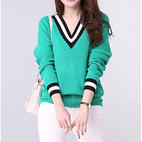 WZH suelto de cuello v manga larga de la cachemira suéter punto de mujer , emerald green , xxl