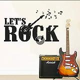 Adhesivo De Vinilo Para Pared Music Wall Lets Rock Guitar Electro Wall Decal Música Notas Banda Wall Art L Inicio Music Studio Wallpaper 102 * 57Cm