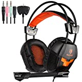 Sades Sades Sa921 Stereo Gaming Headset,Lightweight Over Ear Computer Game Headphones 3.5Mm Jack with Mic for Laptop Pc/Mac/Ps4/Xbox One/Ipad/Phones with Free Splitter Adapter(Black Orange)