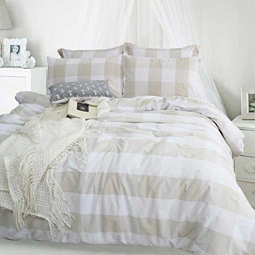 Merryfeel Bettwäsche-Set 2-3 teilige, 100% Baumwolle Garn gefärbt Bettbezug & Kissenbezüge, 4 Größen 4 Farben – Beige 200x200cm