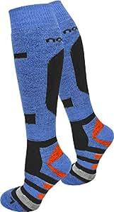 2 Paar Erstklassige Skisocken Ski Kniestrümpfe mit Spezialpolsterrung zum vermeiden von Druckstellen Farbe Ripp/Blau/Orange Größe 35/38
