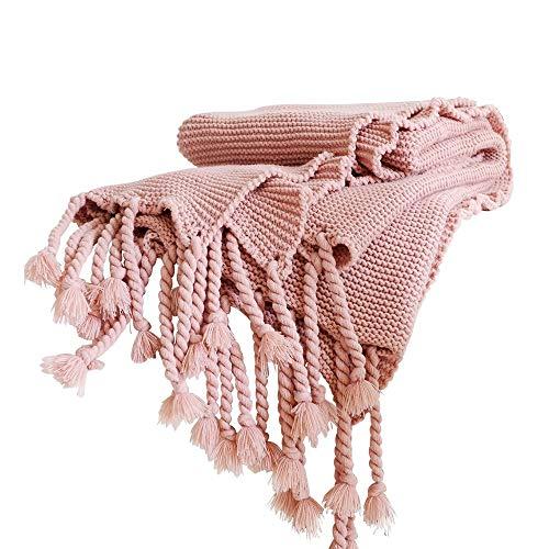 100% Baumwolle Gestrickte Decke mit Grober Nadel Gemütliches Sofa Büro-Decke für die Mittagspause, Gestrickter Schal zum Fernsehen Oder Nickerchen auf Stuhl, Sofa und Bettv,130×170cm,Pink -
