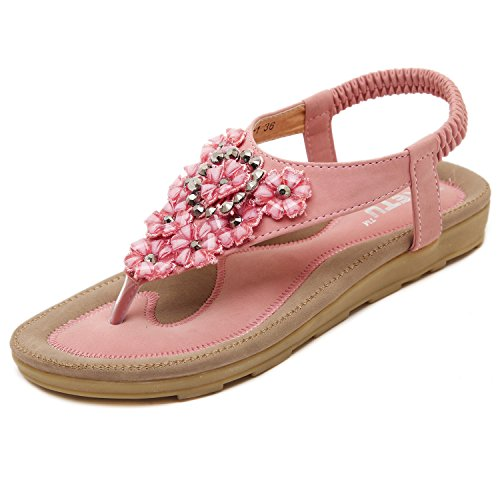 dqq femmes de fleurs de perles T Sangle String Sandal Rose - rose