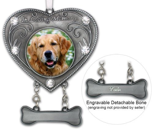 Gedenktafel für Hunde Foto Ornament-in Loving Memory Hund Ornament-Bilderrahmen in Herzform Ornament mit Kristallen-Dog Sympathy Geschenk-Remembrance-Hund schmerzlichen Verlust