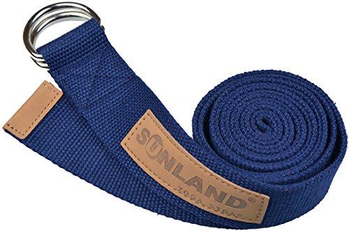 Sunland Yoga Pilates Exercice Stretching Ceinture Fitness Formation Sangle de yoga 183cm Bleu marine