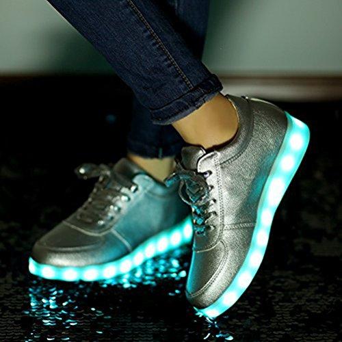 (Présents:petite serviette)JUNGLEST® KE Unisexe Multicolor USB Rechargeable Etanche 11 Chaussures Led Lumière Nuit Courir Chaus silver