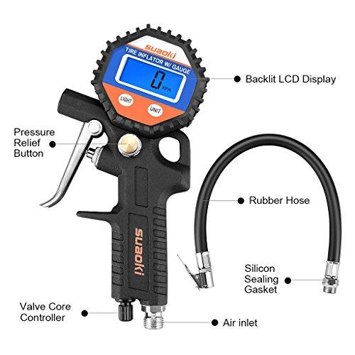 Suaoki-150PSI-Manometro-Pressione-Pneumatici-con-Tubetto-e-Innesto-Connettore-Tutto-in-Uno-Precisione-05PSI-Batteria-Inclusa-per-Auto-Moto-Camion-Bici
