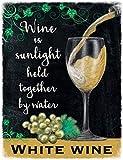 weiß Weinglas Getränk Kneipe Bar Küche Alt Werbung Geschenk Metall/Stahl Wand Zeichen - 30 x 20 cm