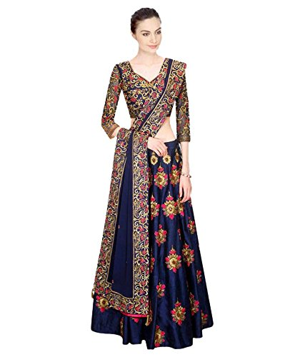 Vatsla Women\'s Heavy Banglori Silk Lehenga Choli With Bridal Embroidered Work with Santton inner and chiffon Dupatta(VSBHNLHNGH01_Blue)