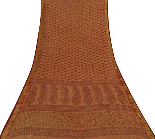 Vintage Indian Brown Saree Baumwolle Seidenblatt gedruckt ethnische Handwerk verwendet Stoff