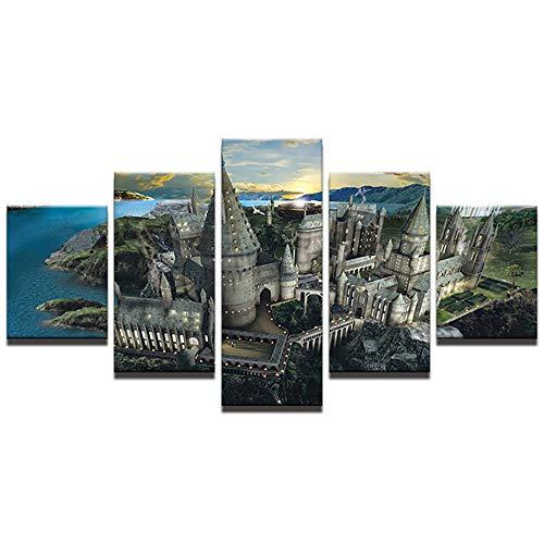 lbonb HD Gedruckt Malerei Dekoration Poster Frame 5 Panel Harry Potter Schloss Landschaft Moderne Wandkunst Bilder Wohnzimmer-30x40cmx2 30x60cmx2 30x80cmx1