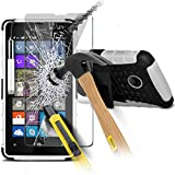 ONX3® ( WEISS ) Microsoft Lumia 532 Hülle Abdeckung Cover Case schutzhülle Tasche Custom Made harte Survivor Hard robuste Stoßfest Heavy Duty Case w/ Zurück Stand, LCD Screen Protector Guard, Poliertuch & Mini Retractable Stylus Pen