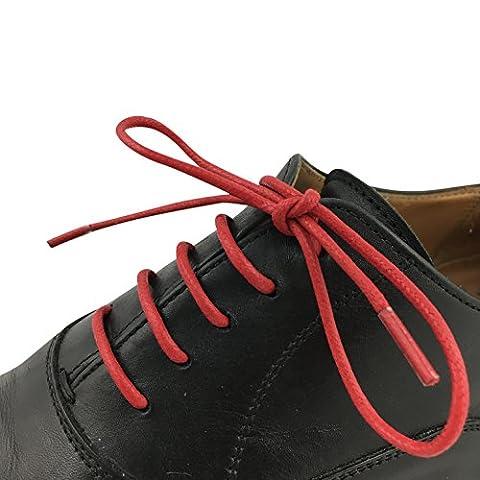 Business Schnürsenkel gewachst reißfest rund - 1 Paar - Ø 2,5mm - von LEISTEN BEIWERK - für Anzugschuh Lederschuh - Rundsenkel - Schuhbänder - Schuhsenkel - Damen - Herren (90cm, rot)