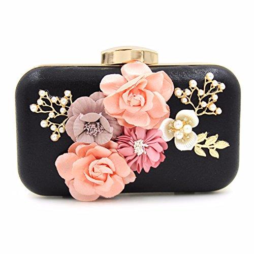 Hohe Qualität, Dekorativen, Blumen, Essen, Tasche, Hand - Tasche, Pearl, Diamond, Abendessen Tasche black