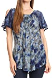 Sakkas 18722 - Camicia Aziza Womens Cold Shoulder Tie-Dye Top con Corsetto e Ricamo - Royal Blue - Plus Size