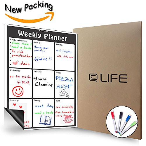 Magnetic Weekly Calendar Dry Erase, Large Multi-function White Board, Monthly&Weekly Organizer Planner for Kitchen Refrigerator/Meeting room/Classroom