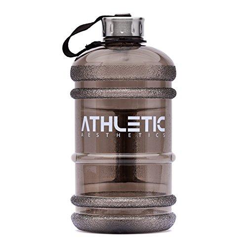Water Jug - Sport Trinkflasche - Waterjug - Wasserflasche - Gym Bottle - Trainingsflasche - Water Bottle - Fitness Bottle - Wasser Kanister 2.2 Liter - Trinkflasche - ATHLETIC AESTHETICS - Schwarz - 2