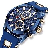 Montre Homme Montre Militaire de Sport Etanche Chronographe Lumineuses Design Montres Bracelet de Luxe Mode Grand Cadran Quartz Analogique