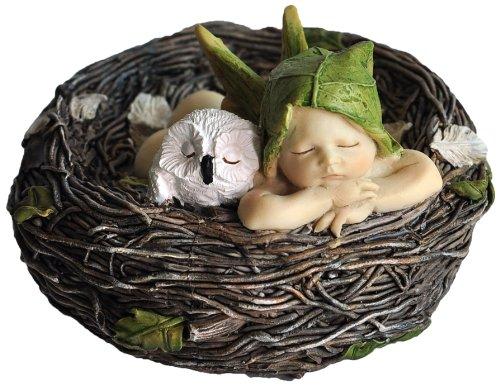 Top Collection Miniatur-Fairy Garden und Terrarium Sleeping Fairy Baby mit Eule in Nest Statue