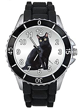 Bombay Katzen Motiv Uhr Unisex mit Silikonband