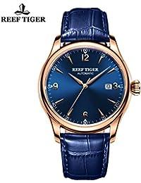 Reef tigre todos los azul y oro rosa gentmen relojes correa de piel reloj automático con fecha rga823