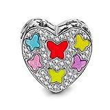 NINAQUEEN Mariposas Abalorio de Mujer Plata de Ley 925 Charms para Día de la madre compatible con Pulsera de Pandora Joyas Regalo para Cumpleaños Aniversario día de San Valentín Día de la Madre