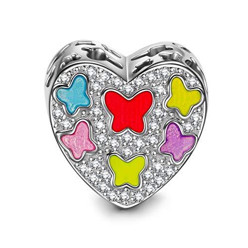NINAQUEEN Bead Charm ~ Balla leggermente ~ Argento Sterling 925 Zirconio Smalto Squisita con Confezione Regalo per Bracciale Charms