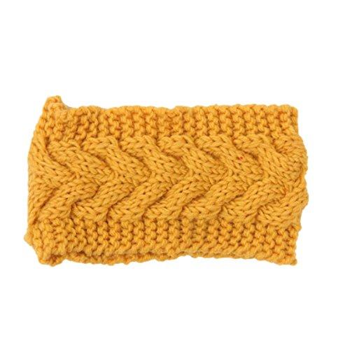 BZLine® Frauen Stirnband Winter Kopfband Headwrap Crochet Kopfband Haarband (Gelb)