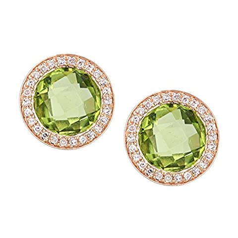 Naava Women's 9 ct Rose Gold Diamond and Peridot Cluster Stud Earrings