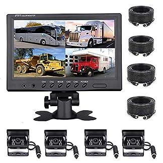 Podofo-Rckfahrkamera-Set-fr-Fahrzeuge-9-Zoll-4-Geteilte-Monitore-wasserdicht-IR-Nachtsicht-Rckfahrkamera-mit-4-poligem-Luftfahrungskabel