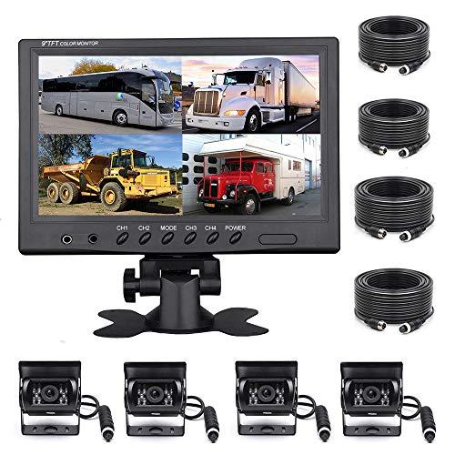 Podofo Rückfahrkamera-Set für Fahrzeuge, 9 Zoll, 4 Geteilte Monitore, wasserdicht, IR-Nachtsicht, Rückfahrkamera mit 4-poligem Luftfahrungskabel