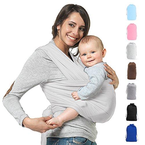 Babytragetuch Neugeborene Elastisches Tragetuch Baby Ring Sling Baby Wrap Sling für Neugeborene und Kleinkinder 100% Baumwolle Ohne Künstliches Elastan Von Future Founder (Hellgrau) (Elastische Taille Wrap)