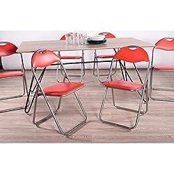 Tilte change to:Lot de 6 pliable et matelassée Chaises fauteuils de bureau pliants en faux cuir assortis Rouge