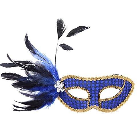 sarahbridal Damen Venezianische Feder Strass Masquerade Ball Masken Paillette Party Kostüm Eye Masken (Venedig Karneval Kostüme Uk)