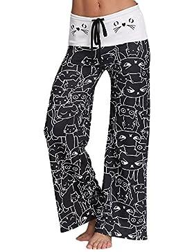 Mujeres Pantalones Anchos de Pierna Largo Cintura Media Pantalón Suave de Algodón Microelástico Cordón Adjustable...