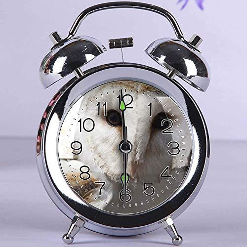 ecker, rundes Metall Tischuhr mit Nachtlicht Schlafzimmer Dekorationen 335.White und Brown Owl Animal(Silber) ()