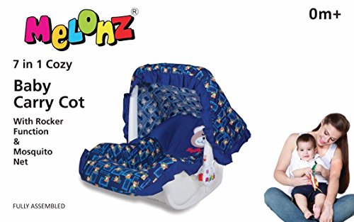 Melonz 7 in 1 Baby Carry Cot with Rocker Function & Mosquito Net Colour May Vary (BLUE)