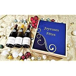 """Coffret Cadeau Vins Noël""""Ligne"""" + 3 bouteilles de cotes de Beaune Village Rouge et saint Véran Blanc"""