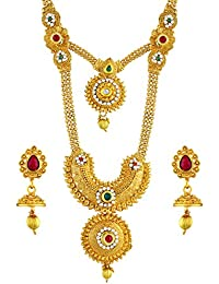 bea1bda9bb659 Asmitta Enchanting Red   Green Kundan Gold Plated Opera Style Necklace Set  for Women