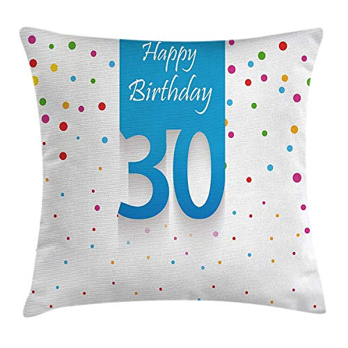 ZMYGH 30th Birthday Decorations Throw Pillow Cushion Cover, Stylized Banner with Hand Writing and Confetti Like Polka Dots, Decorative Square Accent Pillow Case, 18 X 18 Inches, Multicolor