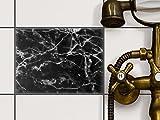 creatisto Bad-Folie Fliesen-Dekor | Klebe-Sticker Aufkleber Folie Küchenfliesen Badgestaltung | 20x15 cm Design Motiv Marmor Schwarz - 1 Stück