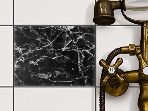 Creatisto Bad Folie Fliesen Dekor | Klebe Sticker Aufkleber Folie  Küchenfliesen Badgestaltung | 20x15 Cm Design Motiv Marmor Schwarz   1 Stück