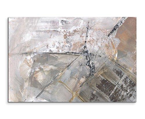 120x80cm Leinwandbild Leinwanddruck Kunstdruck Wandbild grau schwarz weiß Schlieren (Abstrakte Bilder)