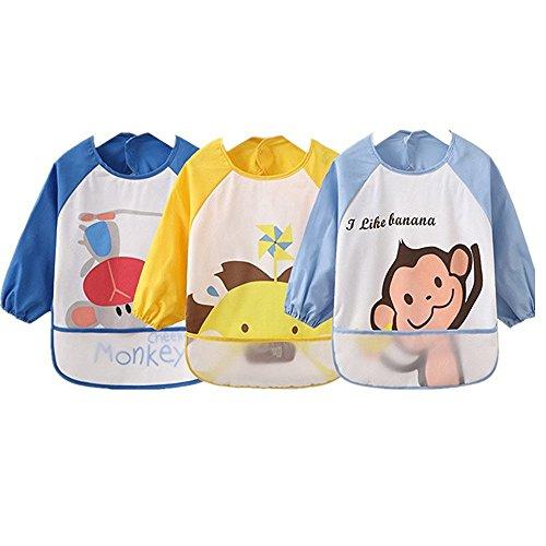 Oral-Q Unisex Bambini Childs arti del mestiere pittura Grembiule Bavaglino impermeabile con maniche e tasca, 6-36 mesi,Blu,Set di 3