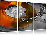 alter Schallplattenspieler schwarz/weiß 3-Teiler Leinwandbild 120x80 Bild auf Leinwand, XXL riesige Bilder fertig gerahmt mit Keilrahmen, Kunstdruck auf Wandbild mit Rahmen, günstiger als Gemälde oder Ölbild, kein Poster oder Plakat