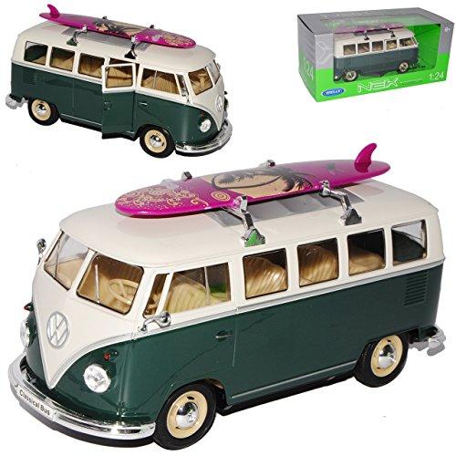 alles-meine.de GmbH VW Volkswagen T1 Grün Weiss mit Surfbrett Samba Bully Bus 1950-1967 1/24 Welly Modell Auto mit individiuellem Wunschkennzeichen